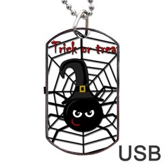 Halloween cute spider Dog Tag USB Flash (Two Sides)  by Valentinaart