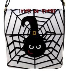 Halloween Cute Spider Flap Messenger Bag (s) by Valentinaart