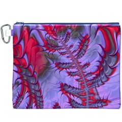 Freaky Friday Red  Lilac Canvas Cosmetic Bag (xxxl) by Fractalworld