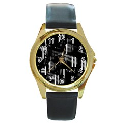 Black And White Neon City Round Gold Metal Watch by Valentinaart