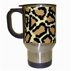 Pink Leopard Travel Mugs (White) by AnjaniArt