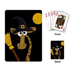 Halloween Giraffe Witch Playing Card by Valentinaart