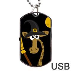 Halloween giraffe witch Dog Tag USB Flash (One Side) by Valentinaart