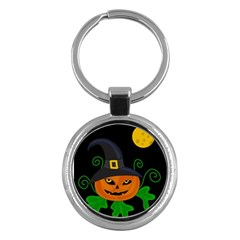 Halloween Witch Pumpkin Key Chains (round)  by Valentinaart