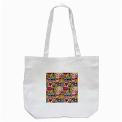 Smiley Pattern Tote Bag (white) by AnjaniArt