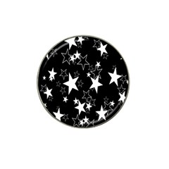 Star Black White Hat Clip Ball Marker (4 Pack) by AnjaniArt
