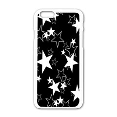 Star Black White Apple Iphone 6/6s White Enamel Case by AnjaniArt