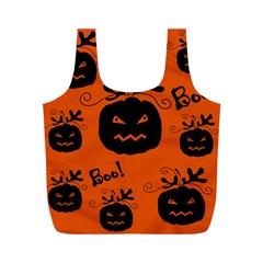 Halloween Black Pumpkins Pattern Full Print Recycle Bags (m)  by Valentinaart