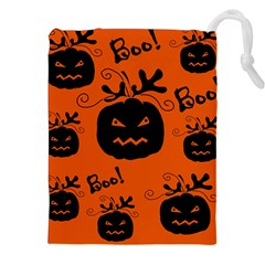Halloween Black Pumpkins Pattern Drawstring Pouches (xxl) by Valentinaart