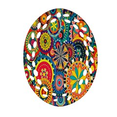 Tumblr Static Colorful Oval Filigree Ornament (2 Side)  by AnjaniArt