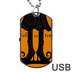 Halloween   Witch Boots Dog Tag Usb Flash (two Sides)  by Valentinaart