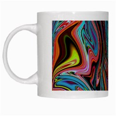 Brilliant Abstract In Blue, Orange, Purple, And Lime Green  White Mugs by theunrulyartist