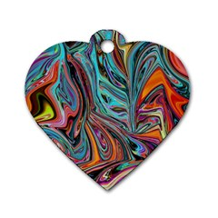 Brilliant Abstract In Blue, Orange, Purple, And Lime Green  Dog Tag Heart (one Side) by theunrulyartist