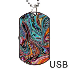 Brilliant Abstract in Blue, Orange, Purple, and Lime-Green  Dog Tag USB Flash (One Side) by theunrulyartist