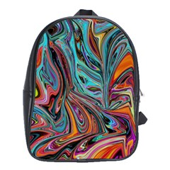Brilliant Abstract In Blue, Orange, Purple, And Lime Green  School Bags (xl)  by theunrulyartist