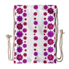 Vertical Stripes Floral Pattern Collage Drawstring Bag (large) by dflcprints