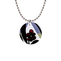 Black Flower Button Necklaces by Valentinaart