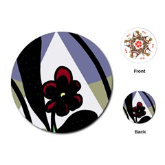 Black flower Playing Cards (Round)  by Valentinaart