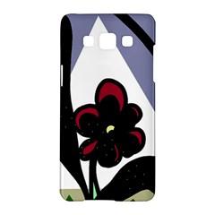 Black Flower Samsung Galaxy A5 Hardshell Case  by Valentinaart