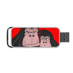 Gorillas Portable USB Flash (One Side) by Valentinaart