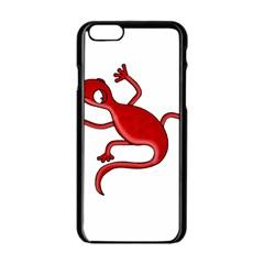 Red Lizard Apple Iphone 6/6s Black Enamel Case by Valentinaart