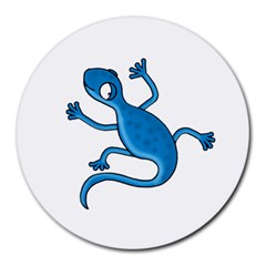 Blue Lizard Round Mousepads by Valentinaart