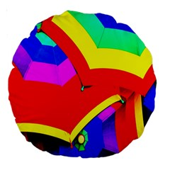 Umbrella Color Red Yellow Green Blue Purple Large 18  Premium Round Cushions by AnjaniArt