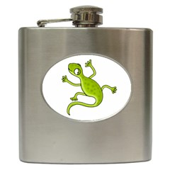 Green Lizard Hip Flask (6 Oz) by Valentinaart