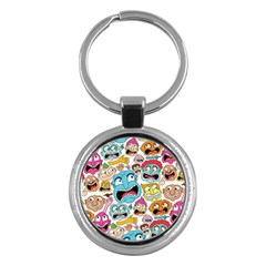 Weird Faces Pattern Key Chains (round)  by AnjaniArt
