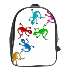 Colorful Lizards School Bags(large)  by Valentinaart
