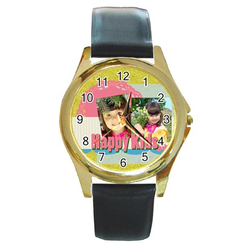 Kids By Kids   Round Gold Metal Watch   Edqeue56v5vm   Www Artscow Com Front