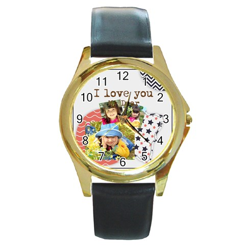 Kids By Kids   Round Gold Metal Watch   Qeduo8mr6sod   Www Artscow Com Front