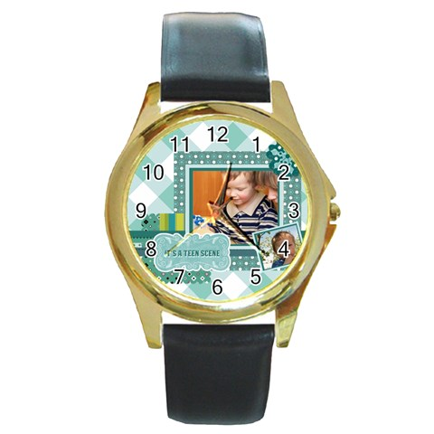 Kids By Kids   Round Gold Metal Watch   Cn1vfiwudrfz   Www Artscow Com Front