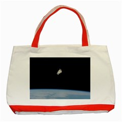 Astronaut Floating Above The Blue Planet Classic Tote Bag (Red) by Zeze