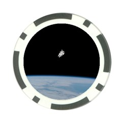 Astronaut Floating Above The Blue Planet Poker Chip Card Guards by Zeze
