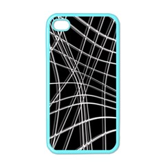 Black And White Warped Lines Apple Iphone 4 Case (color) by Valentinaart
