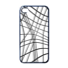 White And Black Warped Lines Apple Iphone 4 Case (black) by Valentinaart