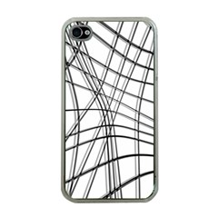 White And Black Warped Lines Apple Iphone 4 Case (clear) by Valentinaart