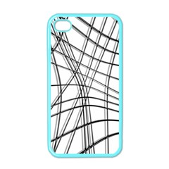 White And Black Warped Lines Apple Iphone 4 Case (color) by Valentinaart