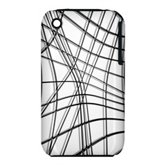 White And Black Warped Lines Apple Iphone 3g/3gs Hardshell Case (pc+silicone) by Valentinaart