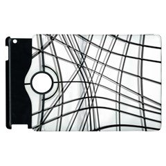 White And Black Warped Lines Apple Ipad 3/4 Flip 360 Case by Valentinaart