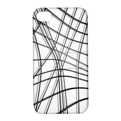 White And Black Warped Lines Apple Iphone 4/4s Hardshell Case With Stand by Valentinaart