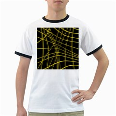 Yellow Abstract Warped Lines Ringer T Shirts by Valentinaart