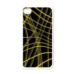 Yellow Abstract Warped Lines Apple Iphone 4 Case (white) by Valentinaart