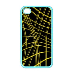 Yellow Abstract Warped Lines Apple Iphone 4 Case (color) by Valentinaart