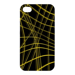 Yellow Abstract Warped Lines Apple Iphone 4/4s Hardshell Case by Valentinaart