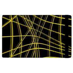 Yellow Abstract Warped Lines Apple Ipad 3/4 Flip Case by Valentinaart