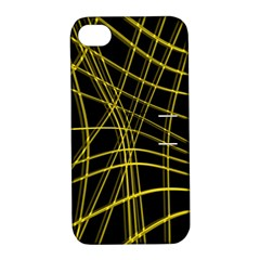 Yellow Abstract Warped Lines Apple Iphone 4/4s Hardshell Case With Stand by Valentinaart