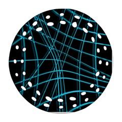 Cyan And Black Warped Lines Ornament (round Filigree)  by Valentinaart
