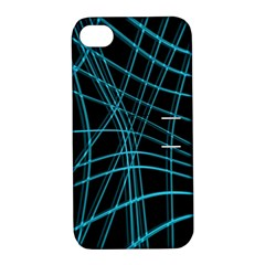 Cyan And Black Warped Lines Apple Iphone 4/4s Hardshell Case With Stand by Valentinaart